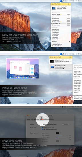 Displays : set new resolution for Mac OS X, virtual laser pointer, picture in picture